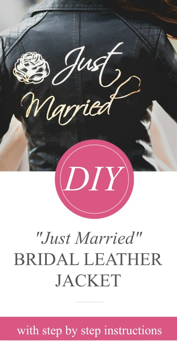 """DIY """"Just Married"""" Bridal Leather Jacket with Cricut"""