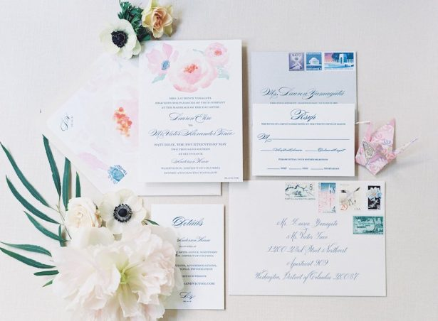 Peony Wedding Invitations -Photographer: Bonnie Sen Photography