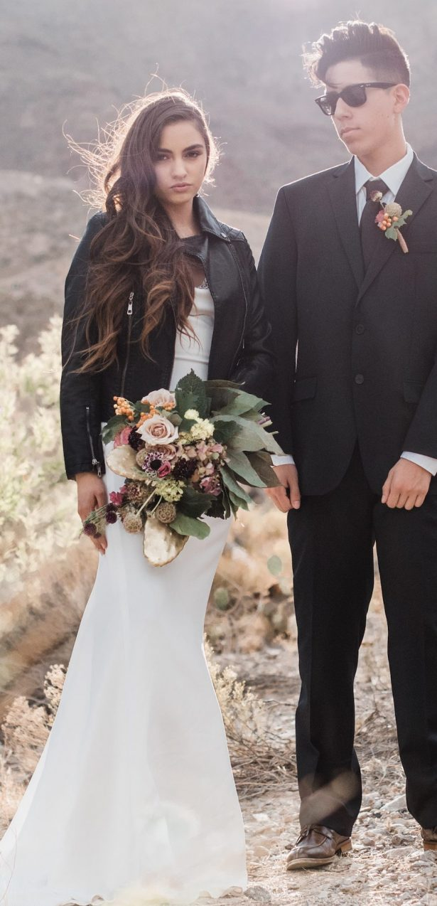 Rock and Roll Bridal Inspiration with Bohemian Desert Vibes + A Bridal Leather Jacket Giveaway