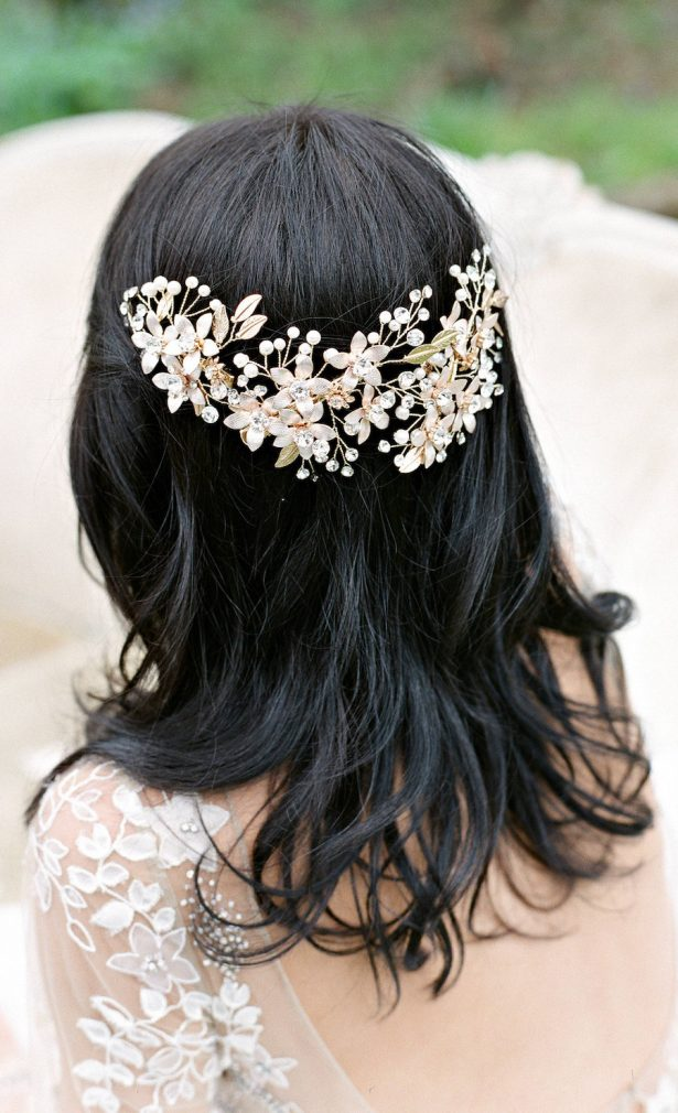 Gorgeous Bridal Gold Hair Headpiece Swarovski Crystal