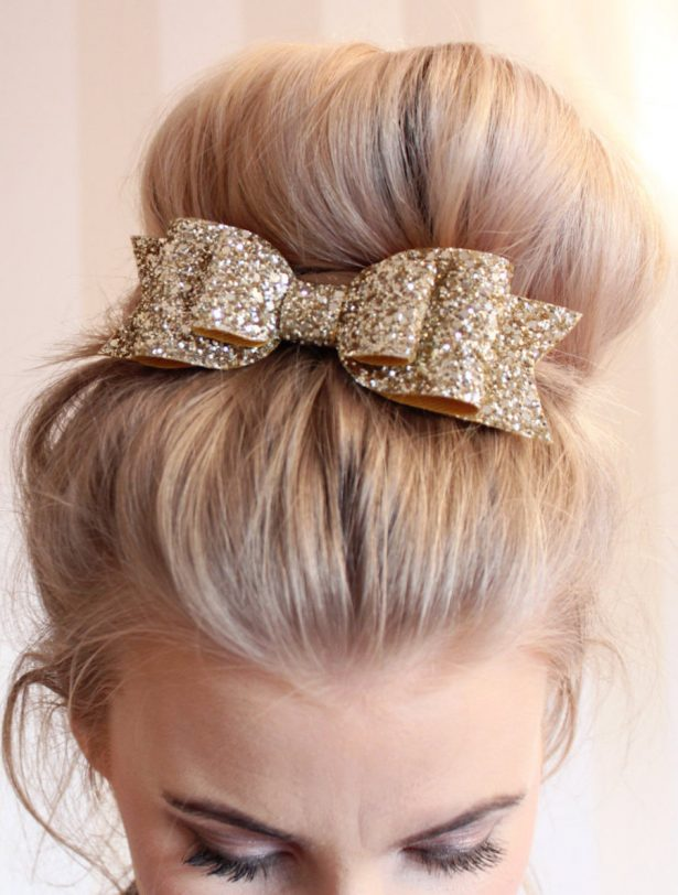 Bridal Headpiece | Oversized Large pale gold glitter fabric bow hair clip