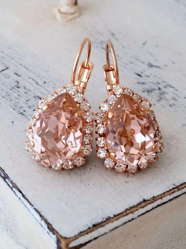 Dusty Rose Wedding Ideas - Bridal Earrings