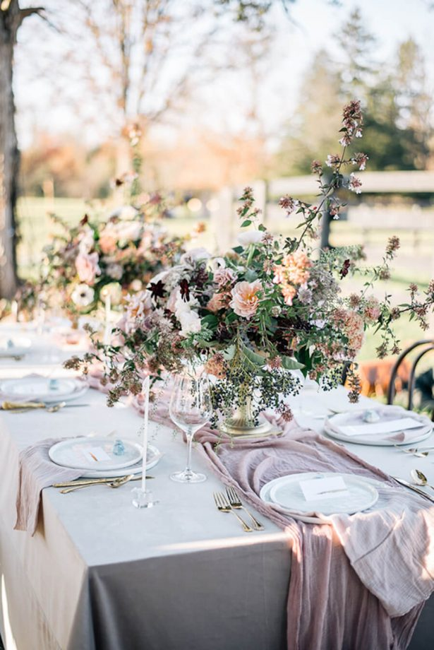 Dusty Rose Wedding Ideas - place settings - Erin Duffy Photography