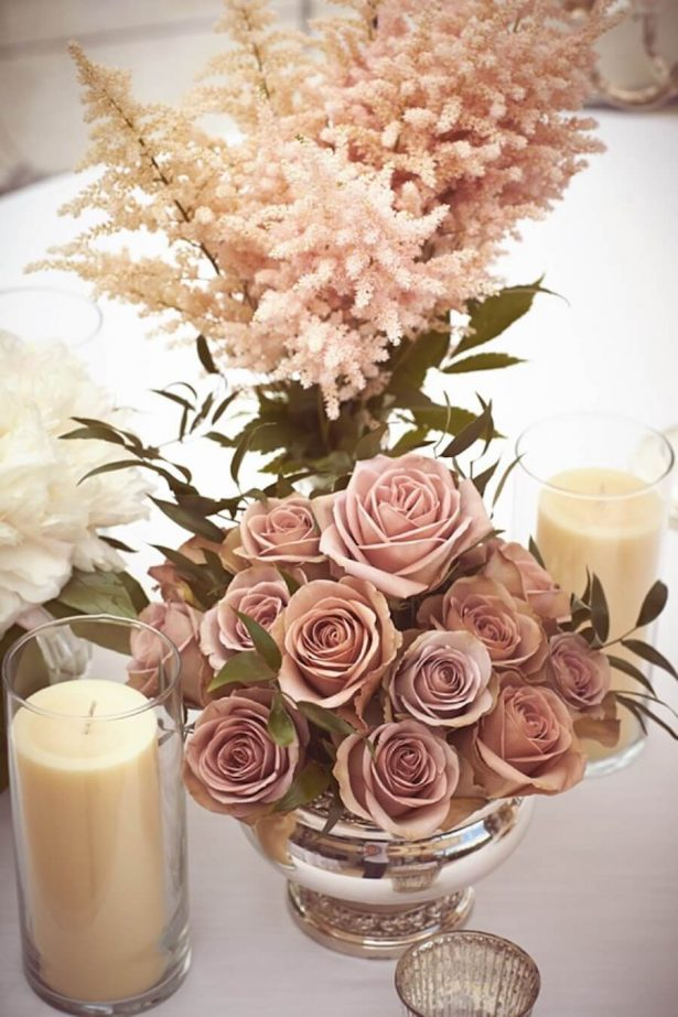 Dusty Rose Wedding Ideas - centerpieces - Photographer : Jules