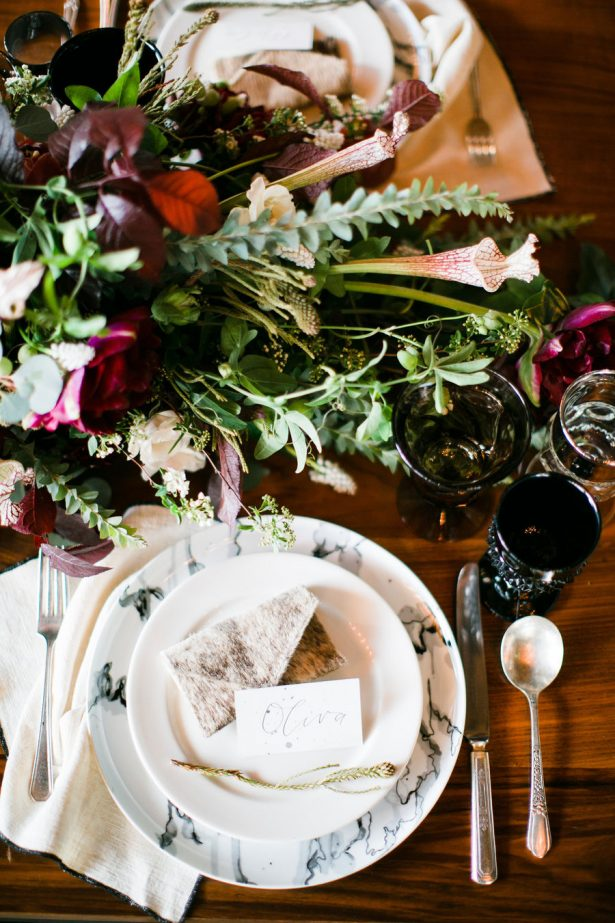 Fall Wedding Table - Wild Heart Events - Mi Belle Photography - Florals: Haute Blossoms - Calligraphy: Sophia Loves Letters - Place Card Holder: Jackson & Hyde - Venue: Santa Barbara Wine Collective