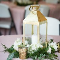 Gold Lantern Wedding Centerpiece - Bethany Walter Photography
