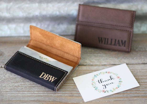 Groomsmen - CUSTOM ENGRAVED LEATHER BUSINESS CARD HOLDER