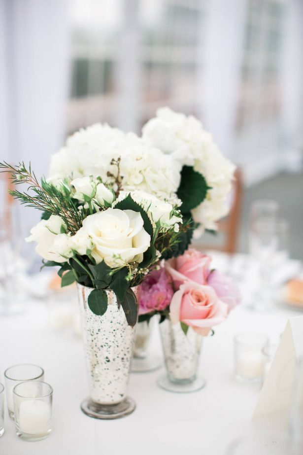 Mercury Glass low wedding centerpiece - Lindsay Campbell Photography