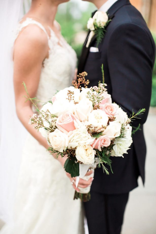 White and blush wedding bouquet - Lindsay Campbell Photography