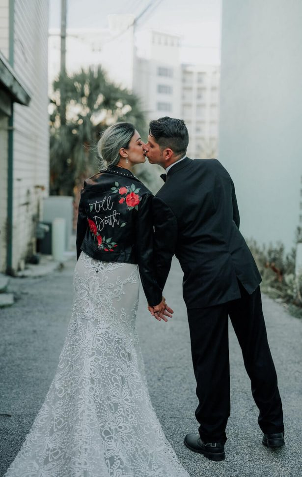 bridal leather jacket - Lindsey Morgan Photography