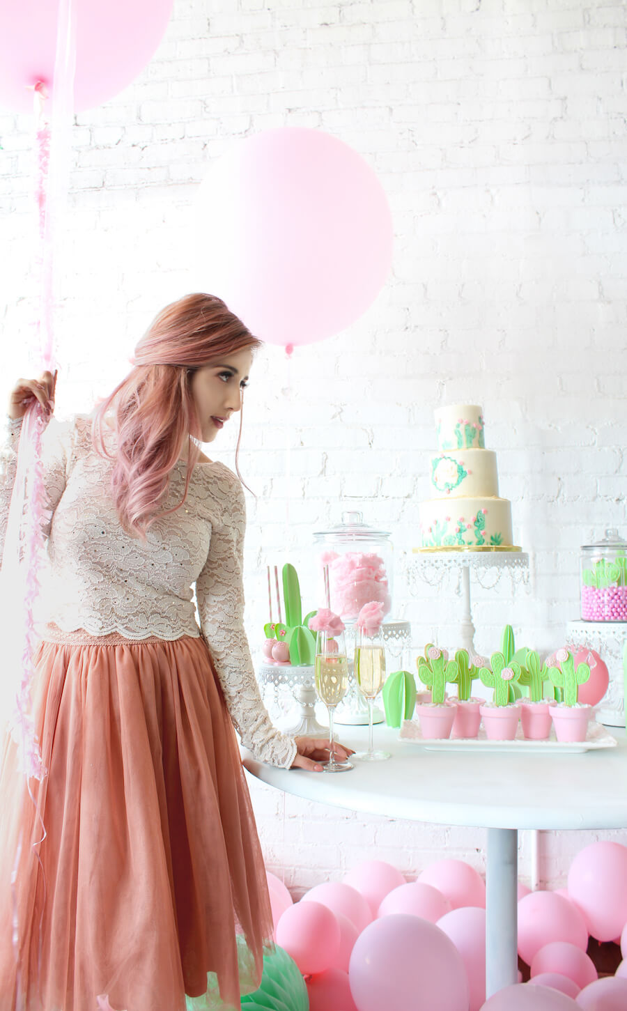 cactus and cotton candy bridal shower