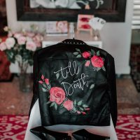 wedding day leather jacket - Lindsey Morgan Photography