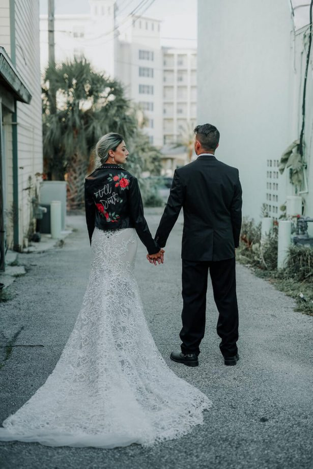 wedding leather jacket - Lindsey Morgan Photography