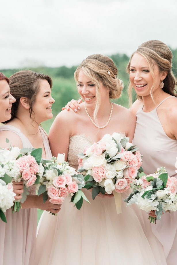 Blush bridesmaid dresses and wedding bouquets - Alicia Lacey Photography