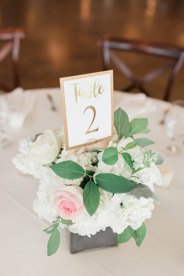 Classic Wedding Centerpiece with gold table number - Alicia Lacey Photography