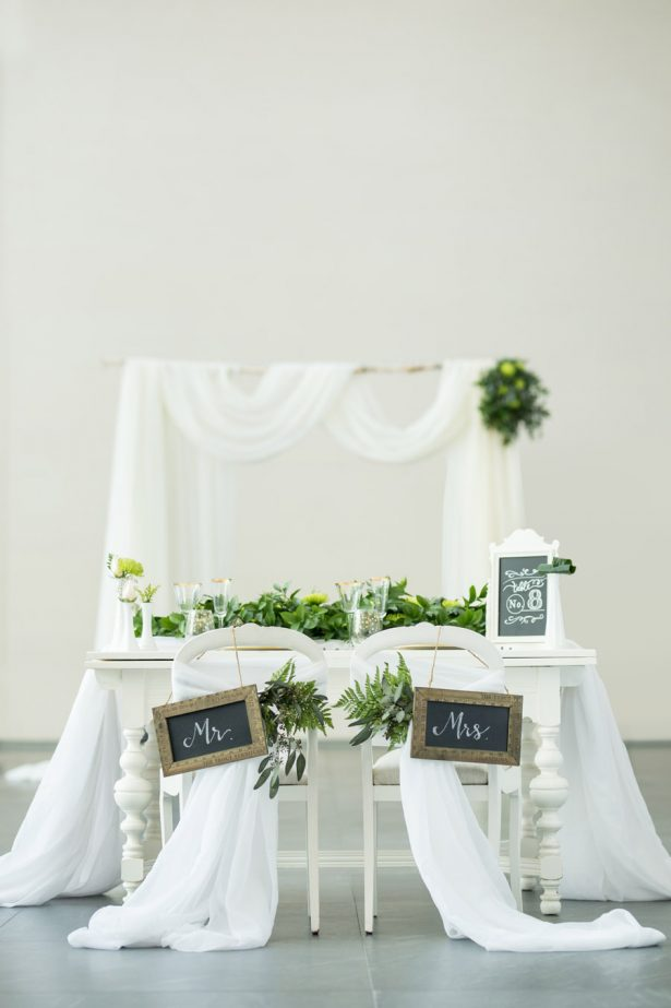 Greenery Wedding Couples Table Detail - Tom Wang Photography