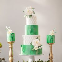 Marble Wedding Cake Greenery - Tom Wang Photography