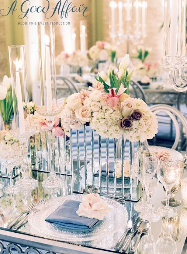 Mirror Wedding Centerpiece - Brett Hickman Photography