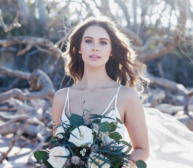 Moody Florals Beach Bridal Inspiration