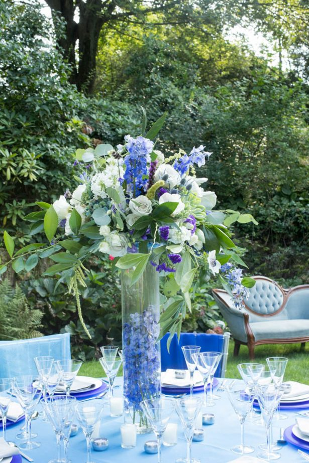 Tall Blue Wedding Centerpiece - Images by Berit