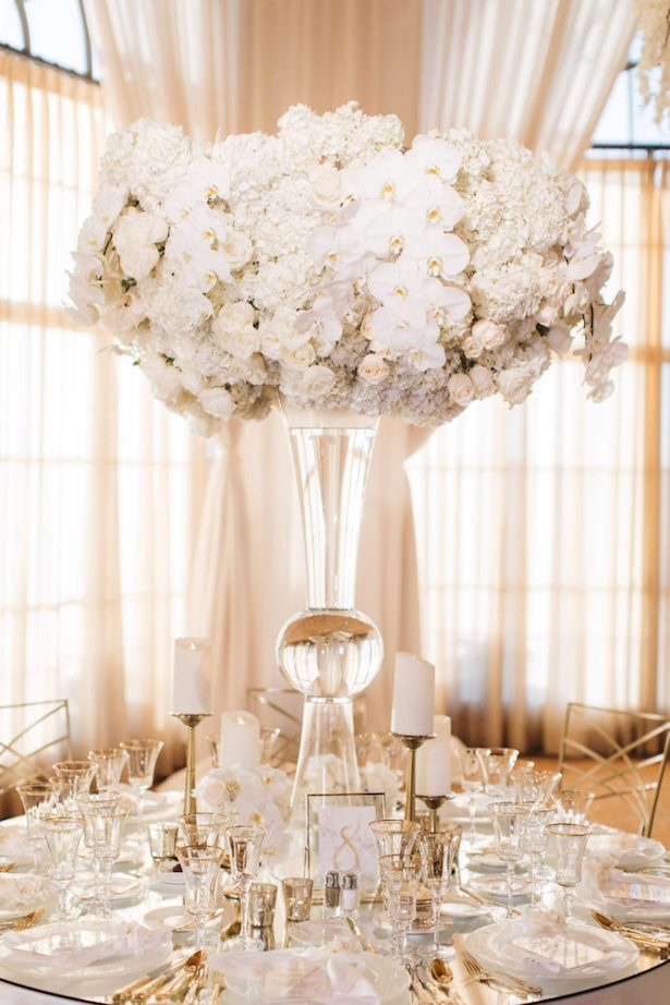 Tall White Wedding Centerpiece - Brandon Kidd Photography
