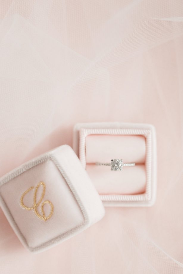 wedding ring on blush box - Alicia Lacey Photography
