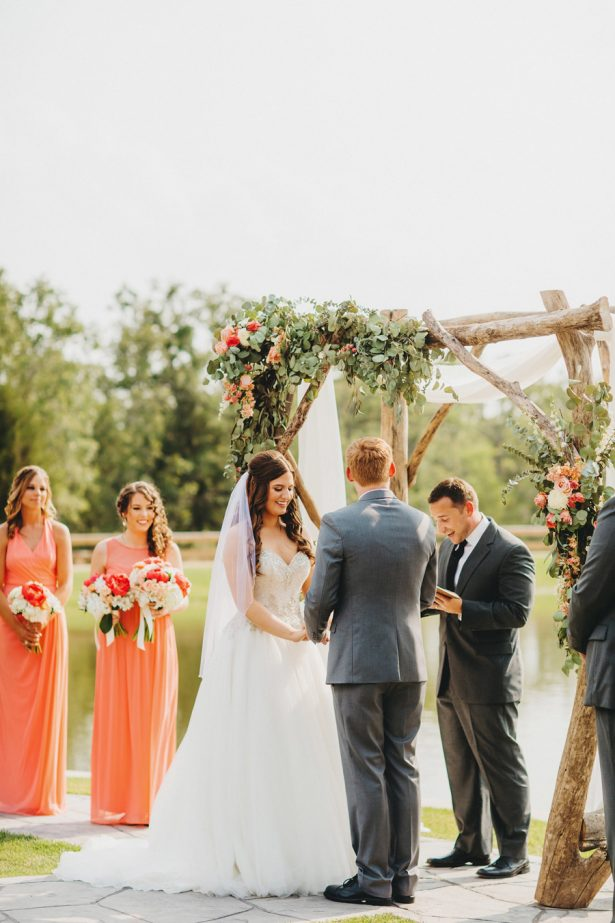 Lakeside Coral Wedding