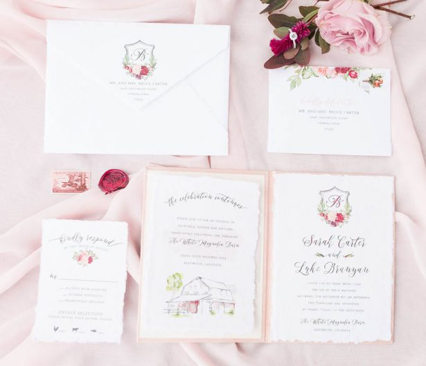 Blush and Burgundy Wedding Invitations - Alexi Lee Photography