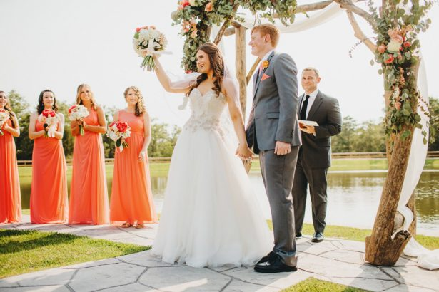 "Texas A&M Sweethearts say ""I do"" at a Beautiful Lakeside Coral Wedding"