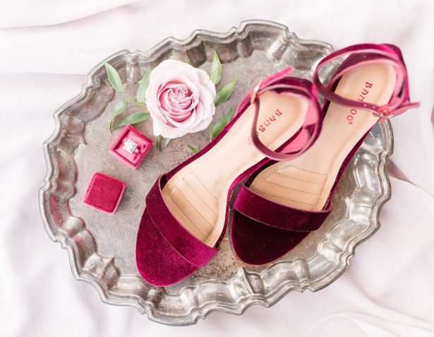 Maroon wedding shoes - Alexi Lee Photograph