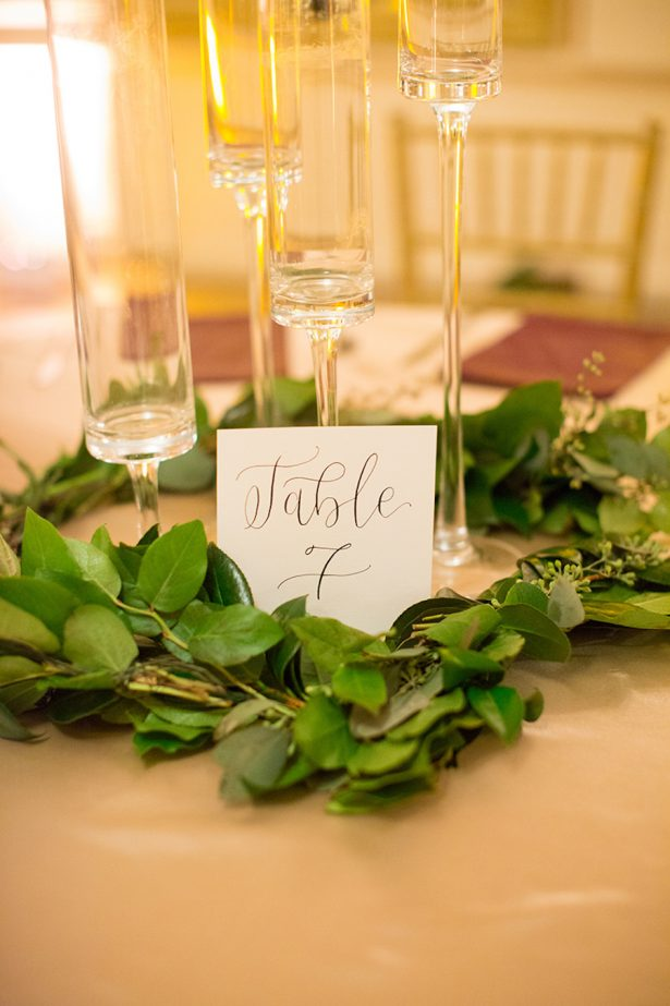 Wreath Wedding Centerpiece and Table Number - Paige Vaughn Photography