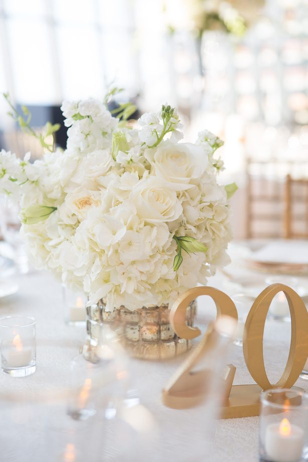 Centerpiece and table number - All White Wedding Ideas - 011. fête Nashville - Amy Harris