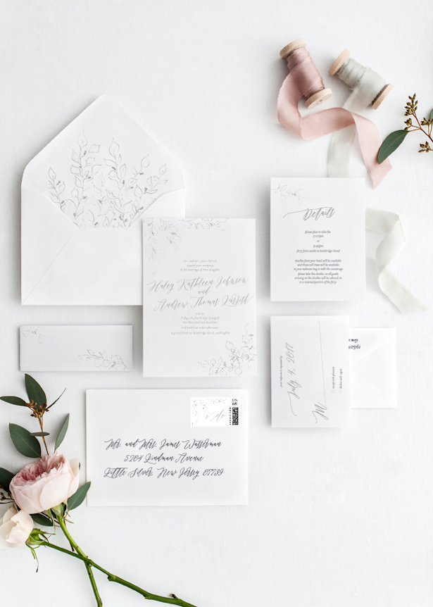 Wedding Invitations - All White Wedding Ideas - Stationery: Five Dot Design