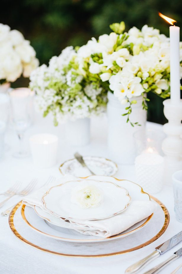 Place setting - All White Wedding Ideas - 018. Jodee Debes Photography - Planner: Dish Wish & Love Details - Rentals: Dish Wish - Florals: Mark's Gardens