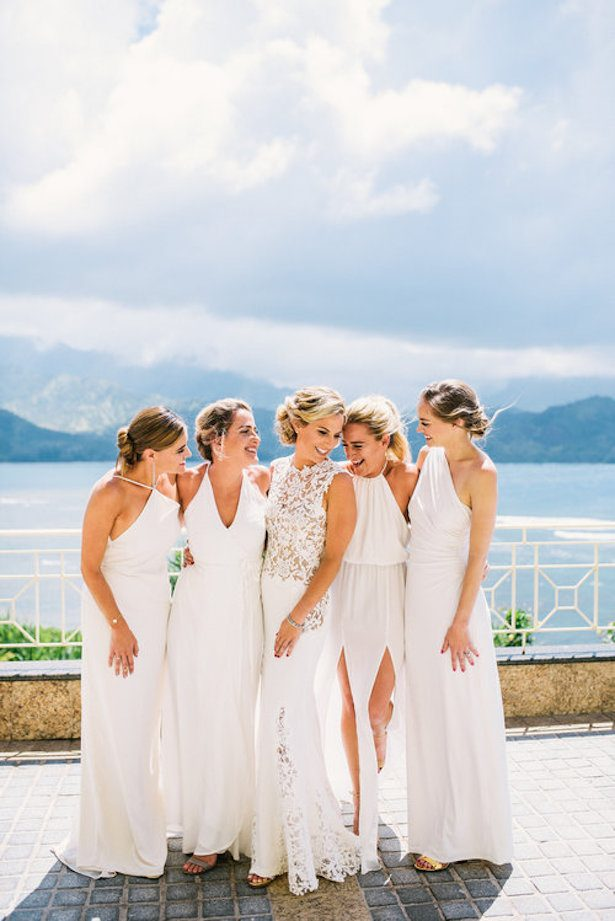 All white wedding ideas for a fabulous winter wedding bridalpulse bridesmaid dresses all white wedding ideas 021 moana events christie pham photography junglespirit Image collections