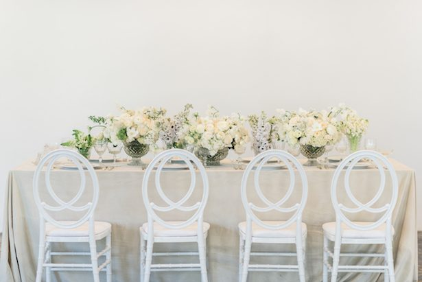 Tablescape - All White Wedding Ideas - 025. Victoria Ann Events - Sanaz Photography - Flowers: The Crimson Petal Desing - La Tavola Fine Linen - Tabletop Rentals: Dish Wish - Chair Rentals: Blueprint Studio
