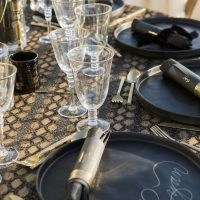 Black and Gold Wedding Plate Setting - Love and You Photography