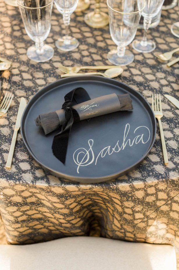 Black and Gold Wedding Plate Setting Details - Love and You Photography