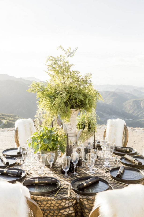 Black and Gold Wedding Tablescape - Love and You Photography