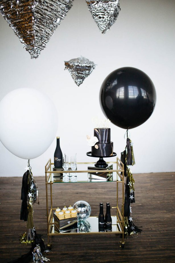 Black and gold bar cart - Sparrow and Gold Photography