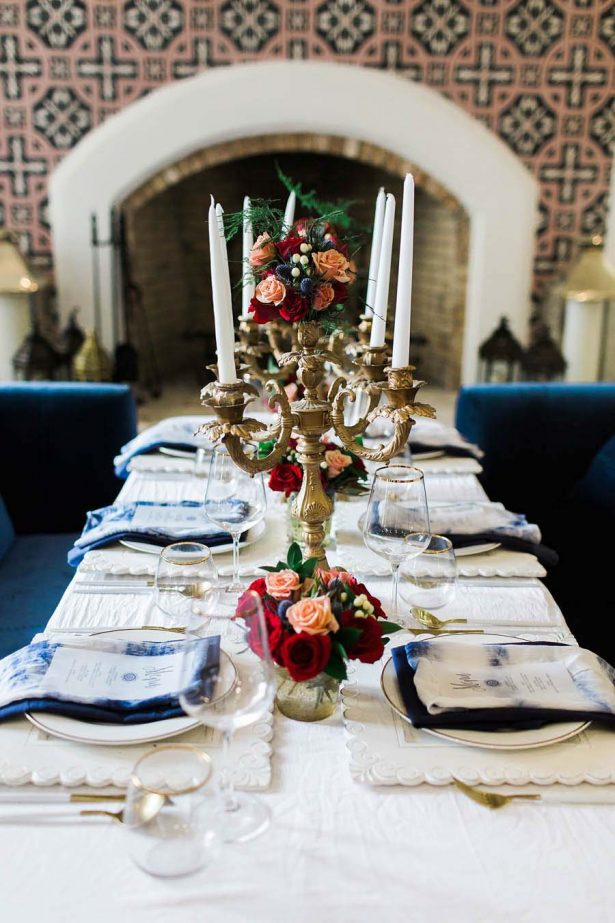 Blue and red winter Wedding Tablescape - Harmony Lynn Photography
