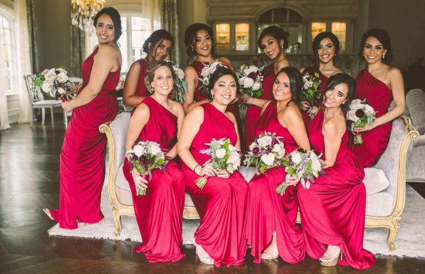 Bridesmaids Magenta Dresses - Julian Ribinik Photography