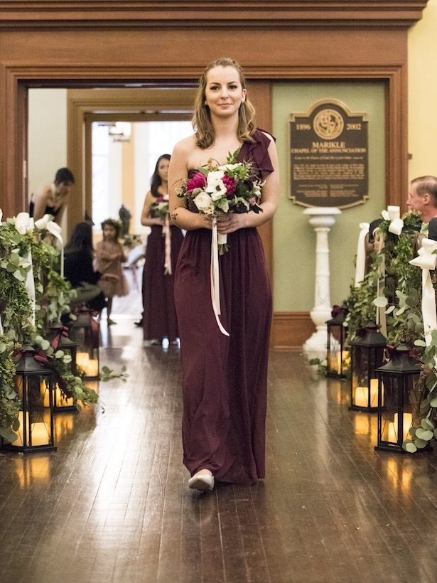 Long Burgundy Bridesmaid Dress - Anna Schmidt Photography