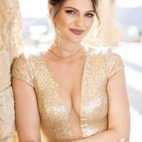 Deep V Neck Gold Wedding Dress - Love and You Photography