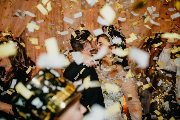 Glitz and Glam Wedding Ideas - NYE - 018. Kirkbrides Wedding Planning & Design - Jason Thomas Crocker Photography - Confetti Drop: Rock the House Group - Hair: Chelsea Wickham - Makeup: Maggie Kleinman Artistry