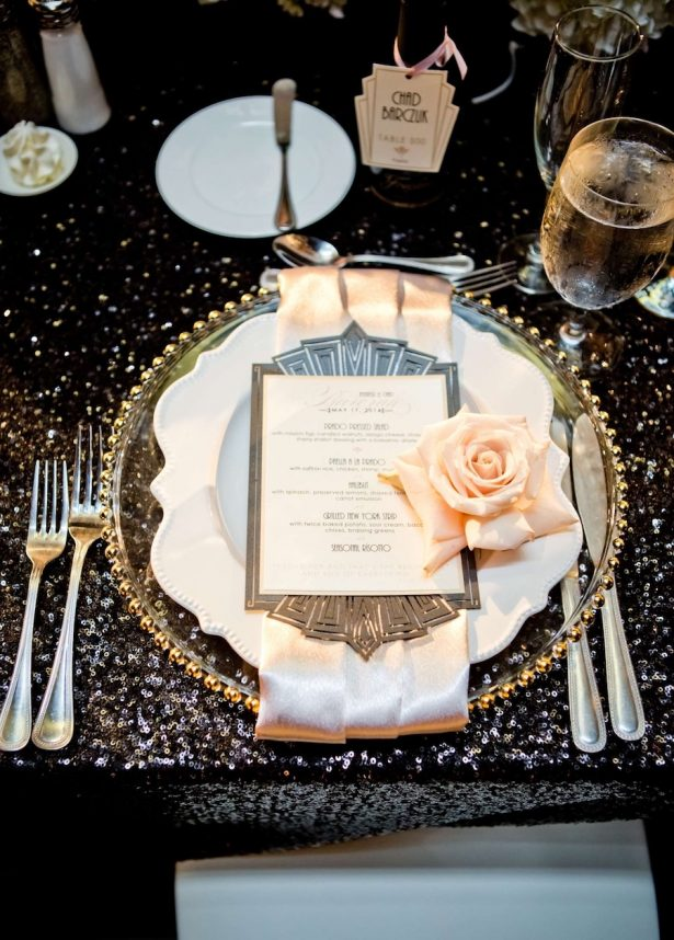 Glitz and Glam Wedding Ideas - NYE - 024. Whimsíque: Designer Invitation & Stationery - True Photography - Coordination by Monarch Weddings - Venue: The Prado at Balboa Park - Floral Design: Splendid Sentiments