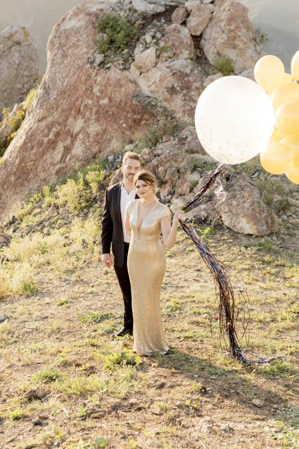Gold and Black Engagement Balloons - Love and You Photography