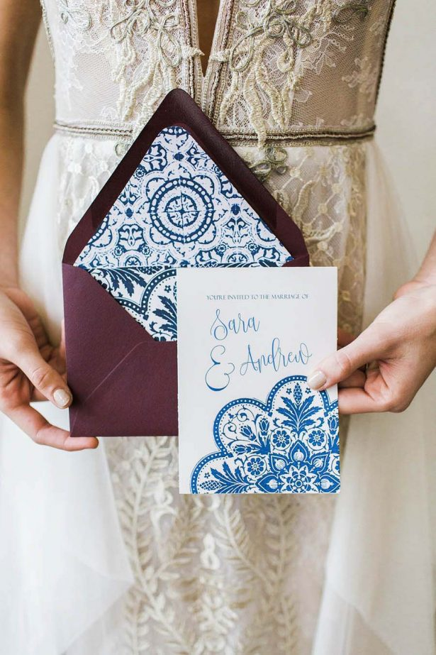 Mosaic inspired wedding invitations - Harmony Lynn Photography