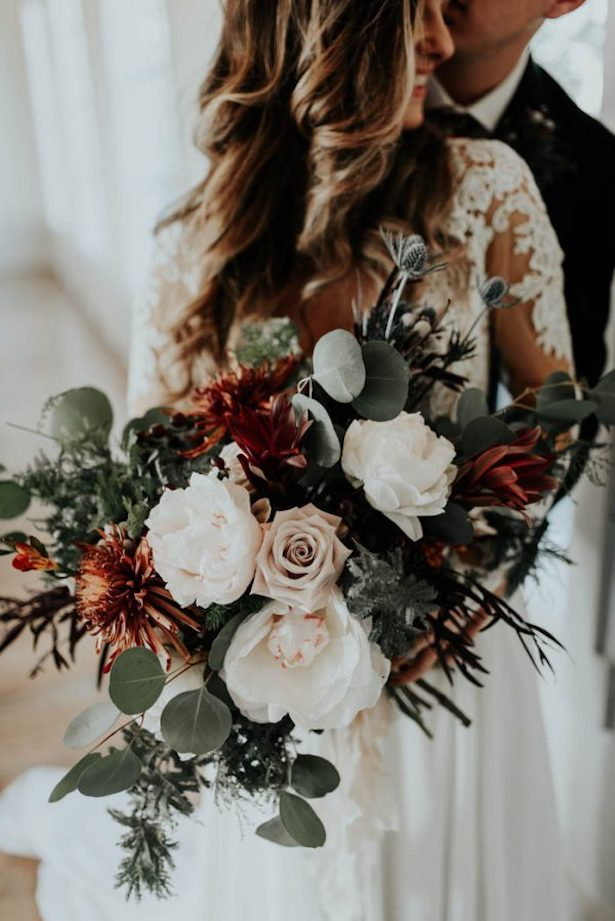 Stunning Winter Wedding Bouquet - Peyton Rainey Photography and Chelsea Denise Photography