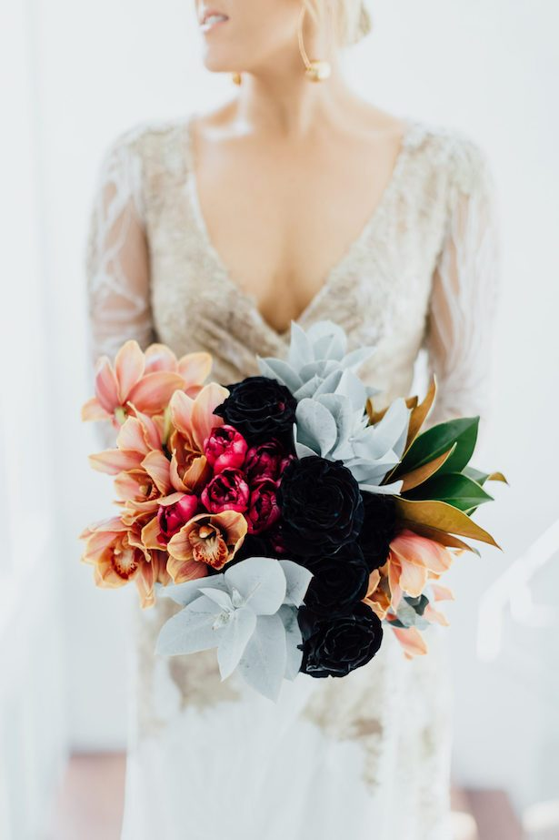 Stunning Winter Wedding Bouquet - black and copper wedding bouquet with orchids - James Simmons Photography